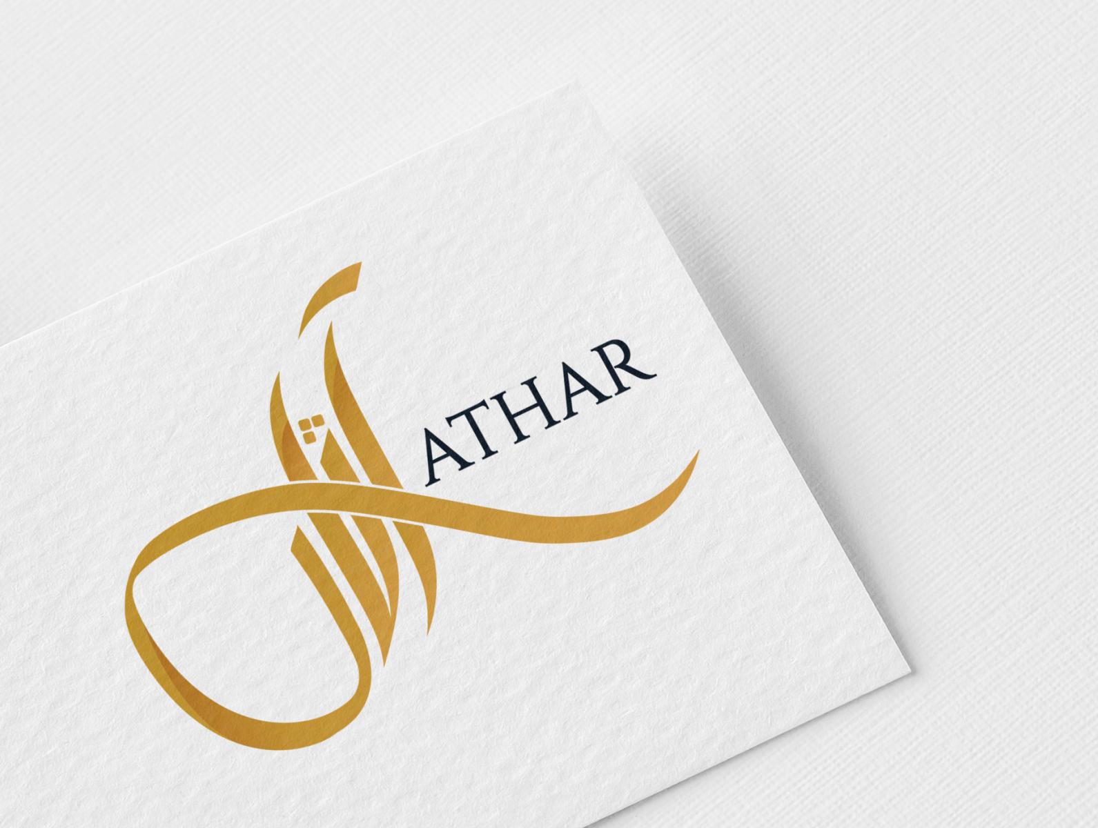 ATHAR LOGO ui typography calligraphy icon illustration visual identity minimal monogram logodesign mark brand branding logo logos lettering