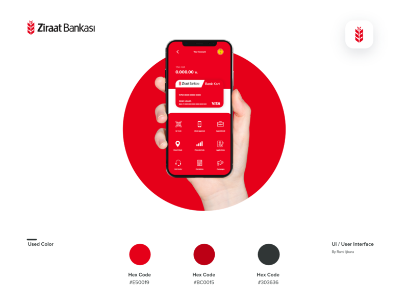 Development of ziraat bank screen flat user experience user interface design user interface branding screen bank app app design app red logo layout minimal monogram visual design uxdesign ux uidesign ui