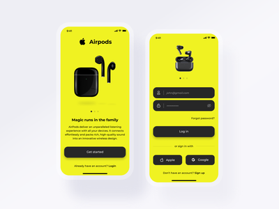 Airpods login Ecommerce App website ui ux logo web icon graphic design clean branding app