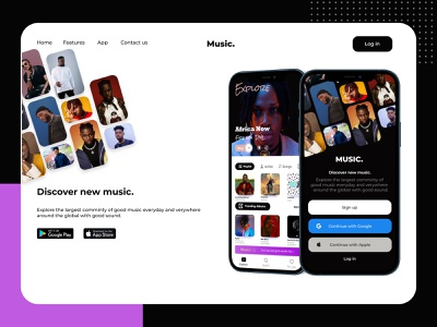 My Music App Landing page music app icon web logo website graphic design design ux illustration branding