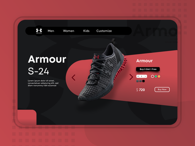 Under Armour Web Design design graphicdesign logo remake instagram inspiration idea uidesign ui adobe website web gaming red black 3d shoe webdesign underarmour