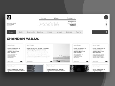 Blog Landing Page designer uxui ui design white black minimalism minimalist minimal blog design blog post uiux ui blogdesign blogger blogpo blogging blog design