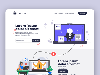 Online Learning Website dashboad minimal dashboard ui web branding illustration typography trend design uiux