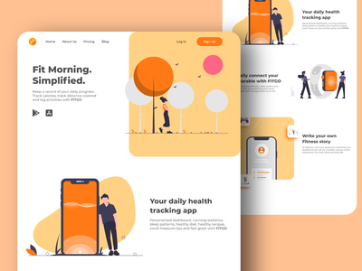 FitGo website page design typography ux ui orange juice websitedesign website product landingpage illustraion illustration health orange design button