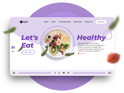 Landind Page Healthy diet purple concept fruits fruit diet healthy health landing design landing page landing website builder html website concept website design websites website
