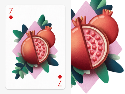 7♢ leaf grain texture vector plant nature fruit pomegranate fun game playing card card
