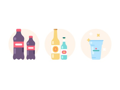 Beverages icons drink bottle cup beer coca-cola coke 2d flat geometric design minimal illustrator line icon illustration vector