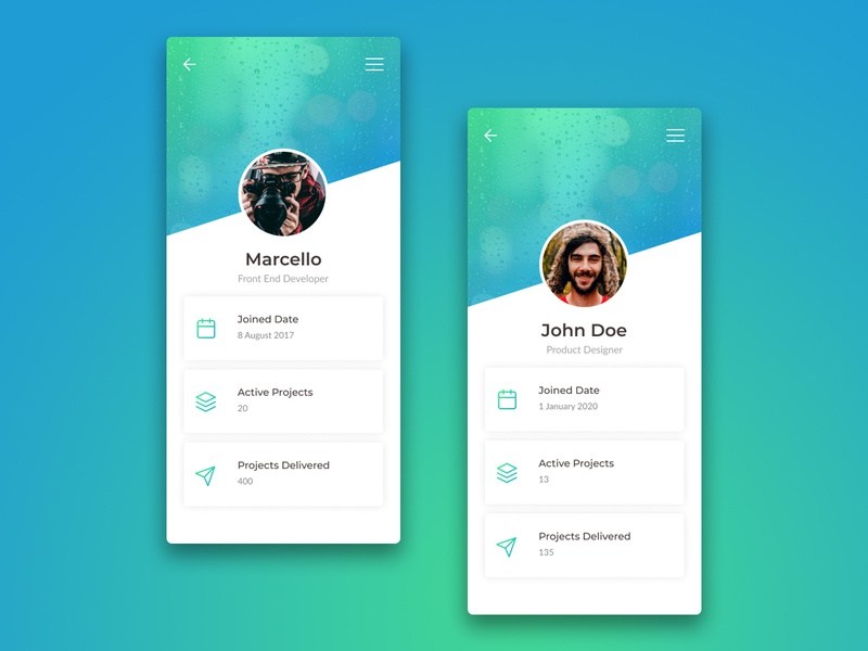 User Profile UI/UX Mobile App