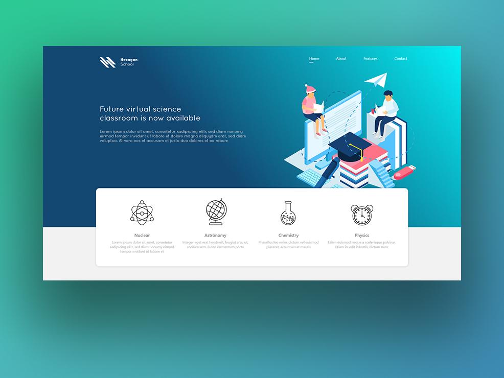 Hexagon School xd responsive prototype figma design website ux ui clean mockup