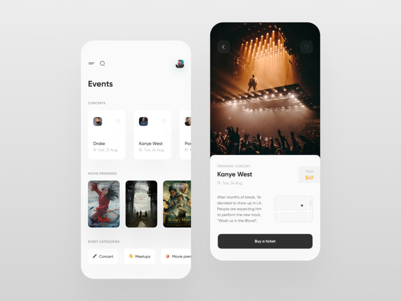 Events App UI mobile trends mobileui uiuxdesign uitrends uiinspiration uidesign trending mobile ui mobiletrends mobileinspiration mobile design mobile app mobile minimal inspiration flat design app design interface 2020