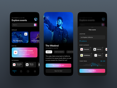 Event Booking App UI fireartstudio fireart mobile trends mobileui uiuxdesign uitrends uiinspiration uidesign mobile ui mobiletrends mobileinspiration mobile design mobile app mobile minimal inspiration flat design app design interface