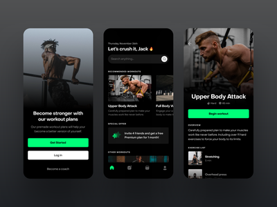 Workout Plans App UI fireartstudio fireart mobileui uiuxdesign uitrends uiinspiration uidesign trending mobile ui mobiletrends mobileinspiration mobile design mobile app mobile minimal inspiration flat design app design interface
