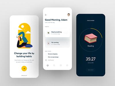 Habits App UI mobiledesign mobileapp uimobile uxdesign uidesign ui logo illustration mobile design mobile app mobile minimal interface inspiration design mobileui