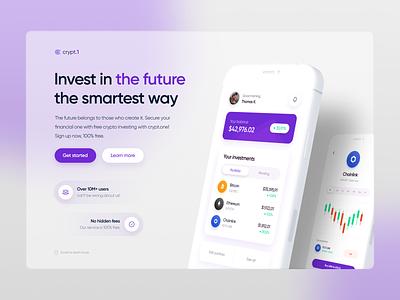 Crypt.1 - Crypto Trading Landing Page logo illustration mobile design mobile app mobile minimal interface inspiration design