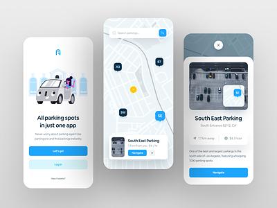 Parking App UI ui logo illustration mobile design mobile app mobile minimal interface inspiration design