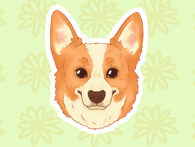Corgi pup sticker