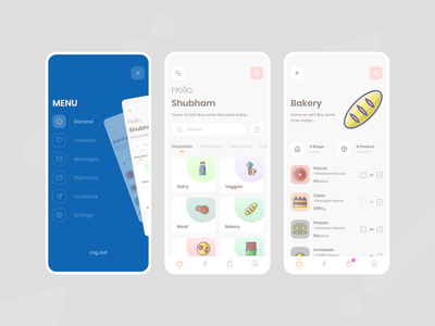 Grocery App shopping app ios donuts shopping medicines cakes chocolates meat veggies dairy bakery shopping cart shopping app shop