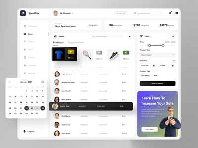 SportBox - Courts & Products Mgmt. dashboard. client management filters calendar ui products sales management app sports dashboard design dashboard ui illustration design ux ui