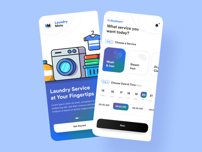 Laundry Service Design Concept vector colors calendar ui services laundry service laundry app iron wash onboarding walkthrough uidesign ui clothing laundry