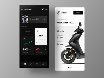 Ather Electric Vehicle Dashboard ui onboarding ui dashboard ui dark mode battery charging station app design uidesign ev electric scooter mobile ui