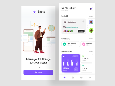 Task Management App finance app goals invites graphs charts stats ui app ui uidesign designs forums shopping meetings income assets debts finance social media management tool management app