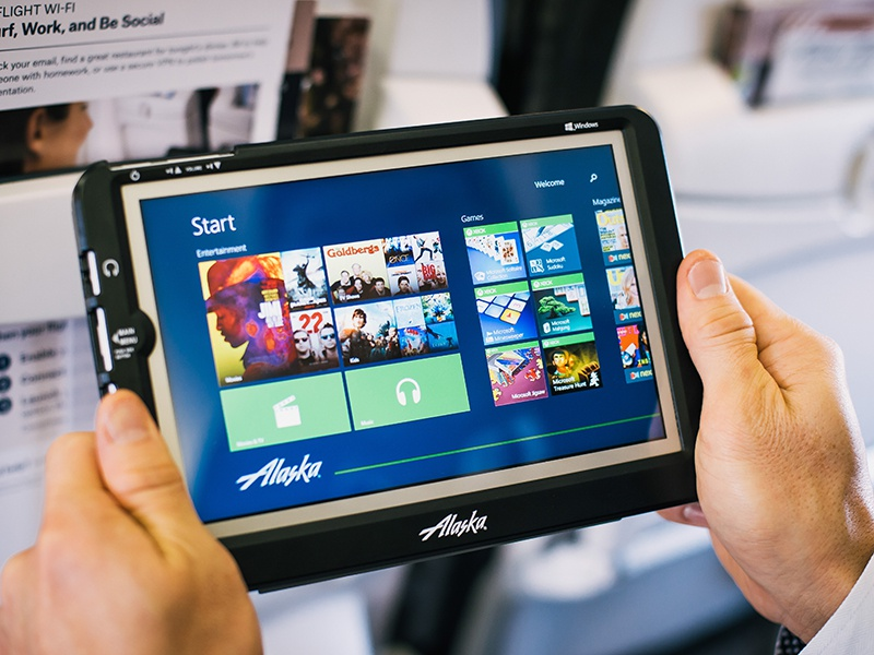 Alaska Airlines In-Flight Entertainment windows 8 tablet ui ux wireframes prototyping dark minimal branding