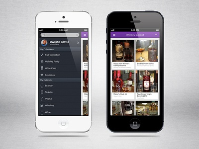 Liqr Collections and Menu ios iphone ui ux