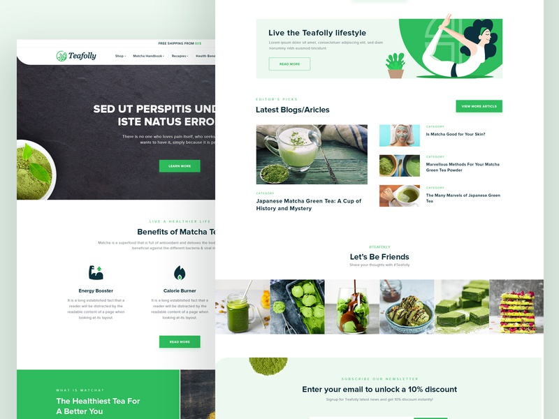 Teafolly Website Redesign | UI UX recipe website food ui ux website ui web ui ux trending illustration abstract download psd design website web ui latest creative modern clean plant tea website tea matcha website