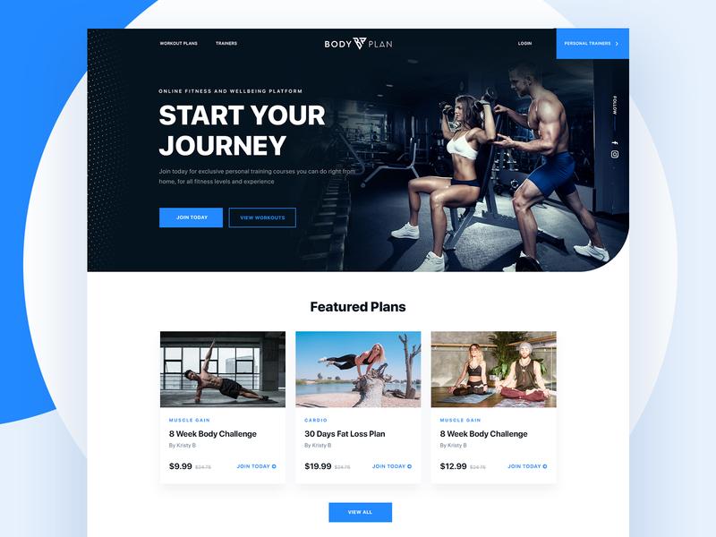 Fitness brand website redesign | UI UX health plans photoshop web design minimalist flat clean design latest app ui web ui ui design ui elegant creative ui ux website yoga bodyplan bodybuilding fitness