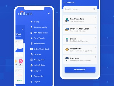 Mobile app UI for Banking and Finance