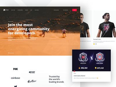 X-Team / Landing Page - For Developers code developer web website clean landing landingpage ui ux design
