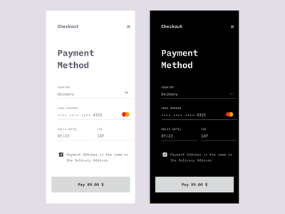 Payment Method App credit card mobile ui ui payment dark flat app ux branding design