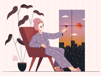 Pajama evening 2d flat illustration landing page shop cozy atmosphere colorful childrens illustration character design vector flat design character illustrator art illustration