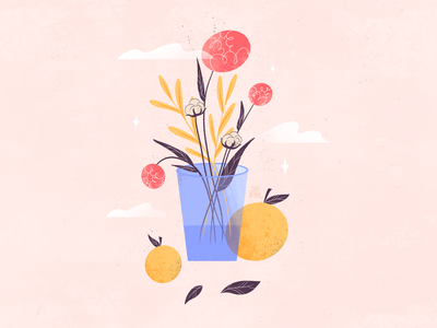 Spring #1 texture challenge procreate illustrations cute warm plants fruit spring flowers flower artwork colorful web minimal flat design illustrator art illustration