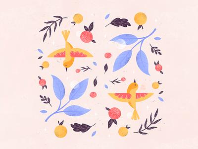 Spring #2 flat illustration modern textured bright artwork artist cute leaves plants flowers birds spring colorful minimal graphic design flat design illustrator art illustration