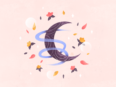 Spring #4 modern artwork textures cute flowers night moon spring ritual textured illustration art colorful web vector graphic design flat design illustrator art illustration