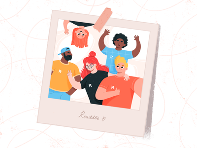 Team ❤️ design colorfull together teammates work teamwork team characters colorful artwork web flat character illustrator art illustration macos ios productivity readdle