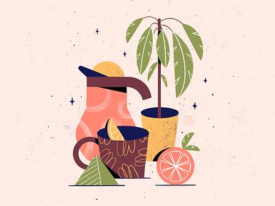 Still Life Illustration textured illustration procreate art textured cup bowl orange still life plant procreate artwork web graphic design flat character illustrator art illustration