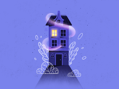House #2 modern house illustration procreate architecture plants monochrome casper ghost building home house illustration art colorful artwork graphic design flat design illustrator art illustration