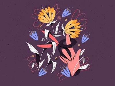 Pain procreate colorfull cute modern textured texture flat  design flowers illustration scissors flower illustration hand flower colorful artwork flat design illustrator art illustration