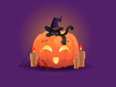 halloween weekly warm-up dribbleweeklywarmup holiday fire black cat pumpkin halloween web character minimal vector illustration graphic design illustrator art flat design