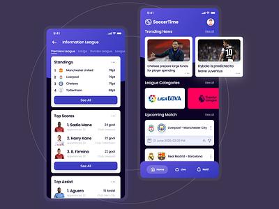 SoccerTime Apps Sports soccer apps sport clean apps ui apps design ui apps screen apps ux uiux app design