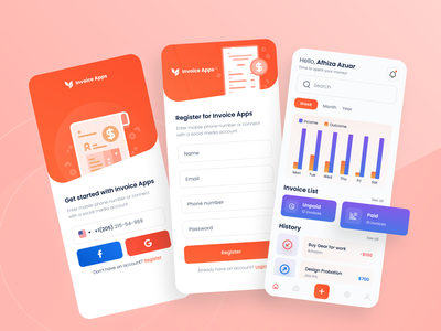 Invoice Apps log in invoice design sign up invoice home ui apps payment apps design apps screen apps app design ux uiux