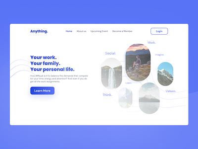 Hero Page Work. Life. Balance. landing page ui landing page design website webdesign web landing page ui uiux ux design