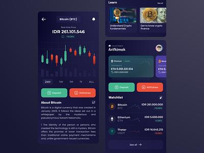 cryptocurrency exchanges apps concept theter ethereum bitcoin cryptocurrency crypto ui ux apps screen app clean apps uiux design