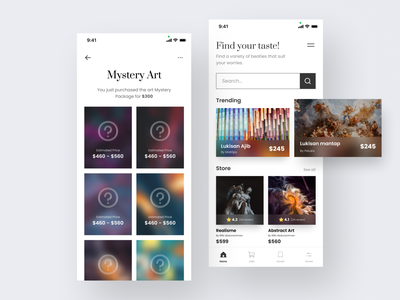 Art Shop - minimalism E-Commerce e-commerce shop shopping app e-commerce app uidesign apps payment apps design apps screen apps clean ux app ui uiux design