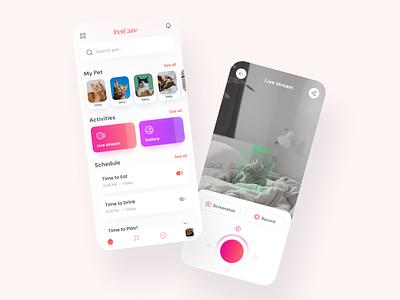 PetCare Apps Surveillance Security cat kitten pet care illustration apps payment apps design apps screen apps clean app ui uiux design