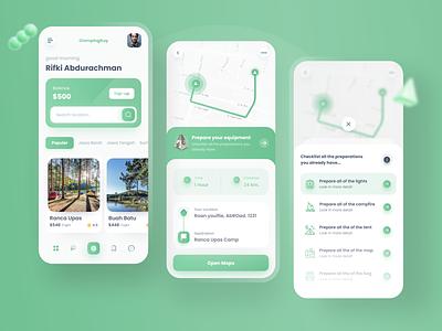 Camp Place Travel Apps riverr campfire tent 3d uiux apps design apps screen apps clean app ui ux design