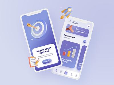 Scheduler Task Applications UI branding illustration design apps app clean ux ui uiux task apps 3d
