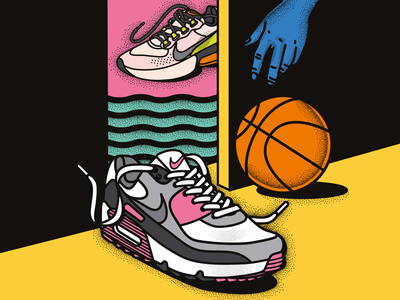 Basketball Nike sneakers/trainers - fashion editorial, sports illustration training trainers sportswear sports branding puma graphicdesign freelanceillustrator fitness colourfulillustration colorfulillustration shoes shoe uma nike gym basketball adidas